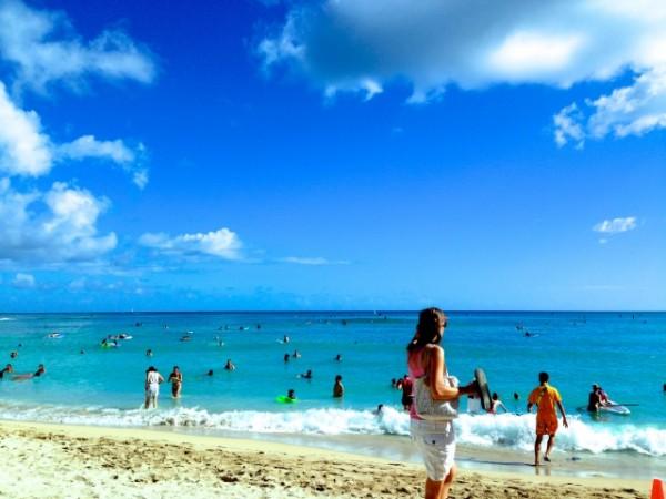 ビーチで海水浴