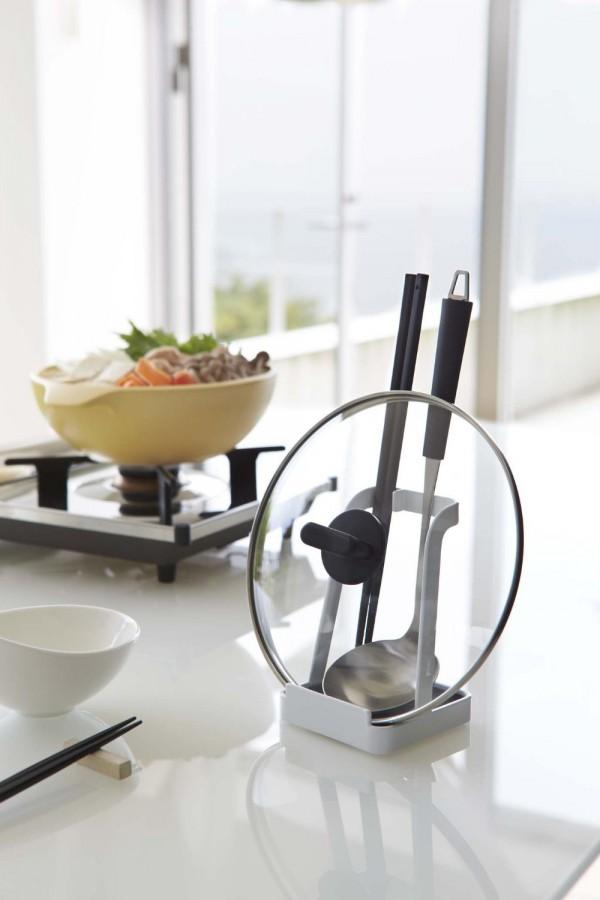 調理中のちょい置きに便利な鍋蓋スタンド お玉スタンド