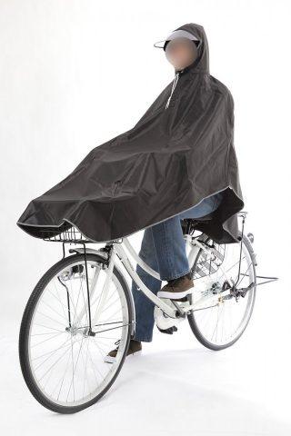 リュックOK!通勤通学に自転車用レインコートポンチョタイプ