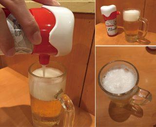 缶ビールに泡を出す便利グッズ!携帯できる超音波サーバー