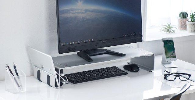 サンワダイレクト モニター台 アルミ USBハブ搭載 USB3.0 充電専用ポート付 幅64.2cm 机上台 モニタースタンド キーボード収納 100-MR126
