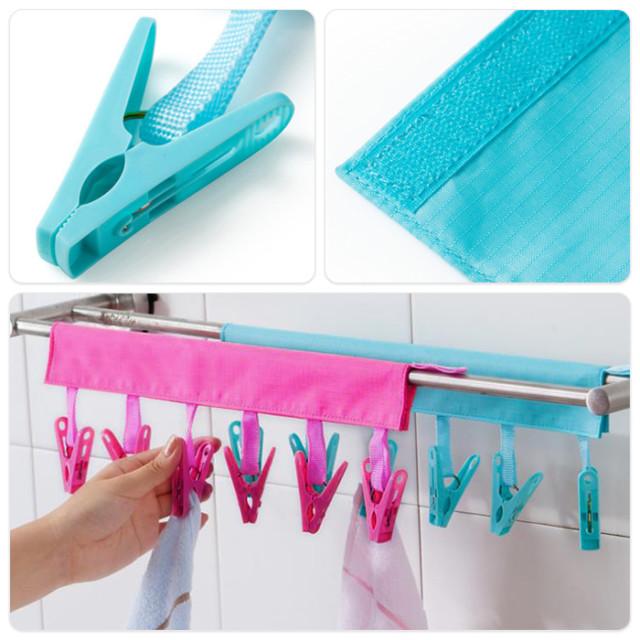旅行用携帯用 バスルーム 折りたたみ式布ハンガー